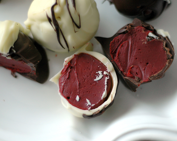 red velvet bonbon cut open