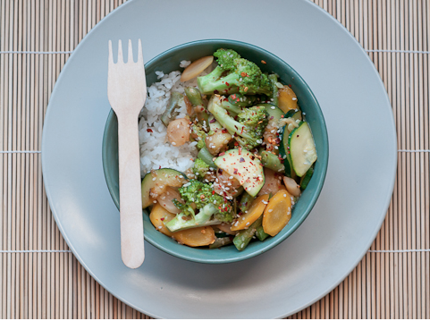vegetable stir fry with miso vinaigrette