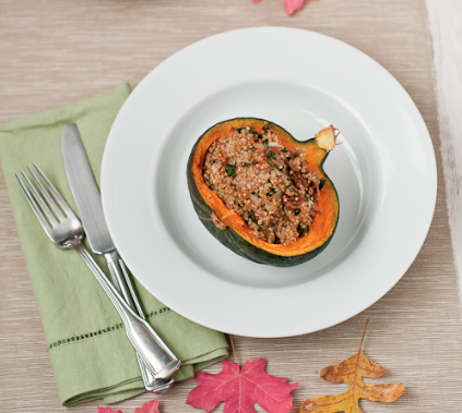 winter squash stuffed with quinoa