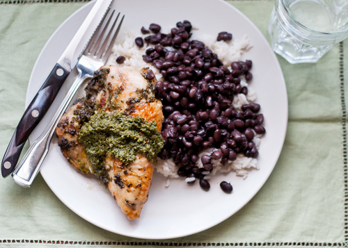 Cilantro Citrus Chicken with Black Beans and Rice