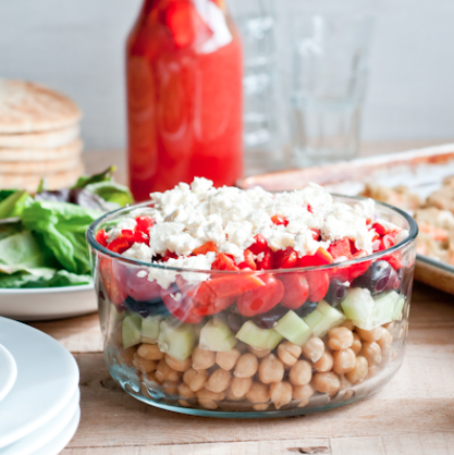 layered chickpea salad