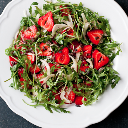 strawberry fennel salad with cacao nibs