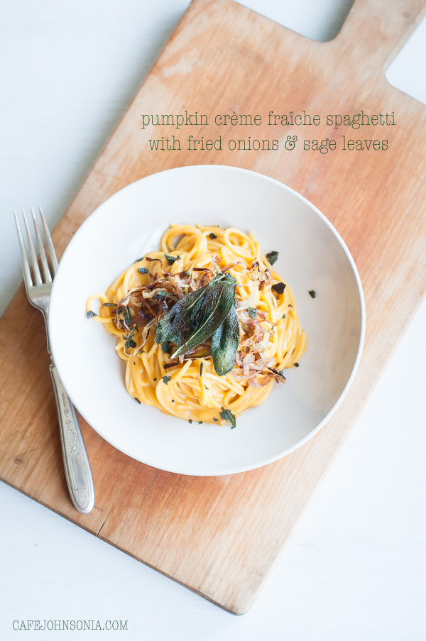 Pumpkin Creme Fraiche Spaghetti with Fried Onions and Sage Leaves