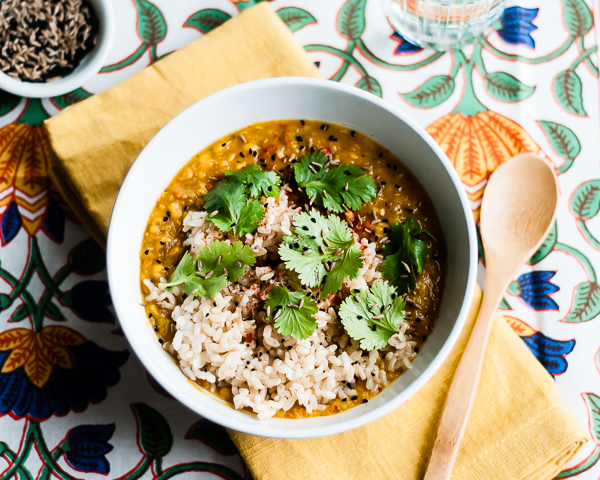 Slow Cooker Red Lentil Dal Recipe with Brown Rice | CafeJohnsonia.com #vegan