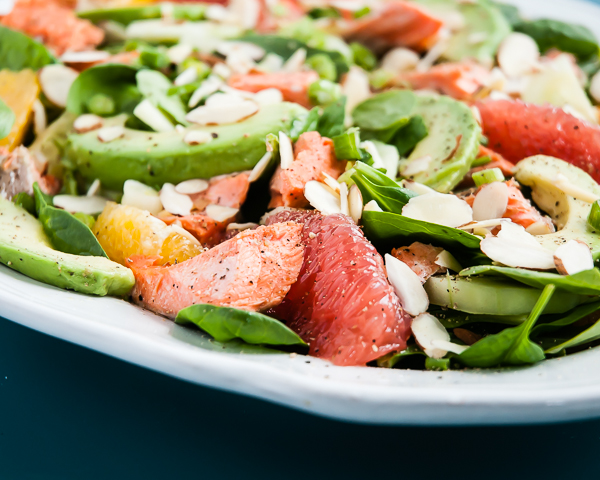 Heart Healthy Salad with Citrus, Avocado and Salmon | CafeJohnsonia.com