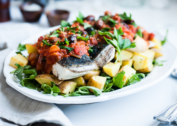 barramundi fillets with puttanesca sauce_