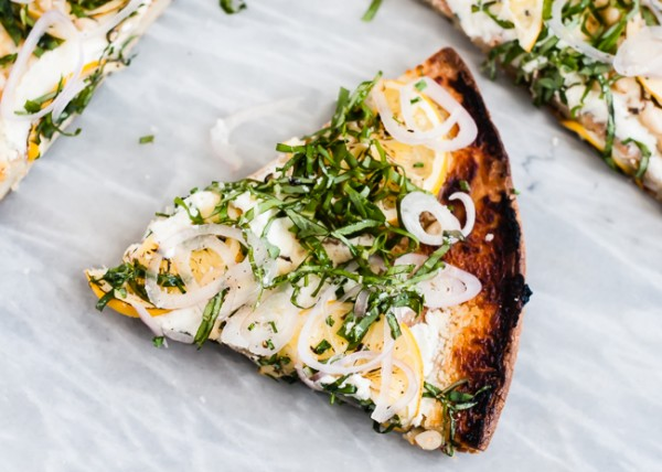 lemon goat cheese basil quinoa pizza