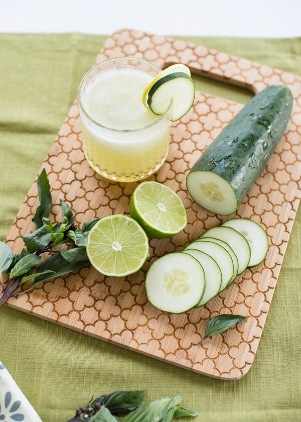 Cucumber Lime Slushies with Thai Basil