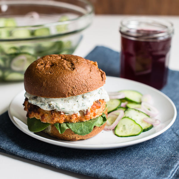 Salmon Burger_Quick Pickled Cucumber Salad