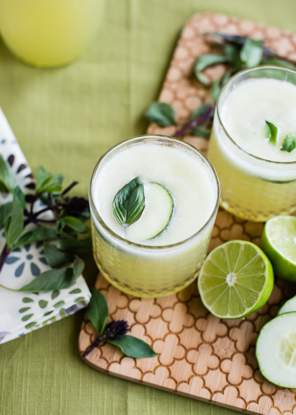 Slushies with Cucumber Lime and Thai Basil
