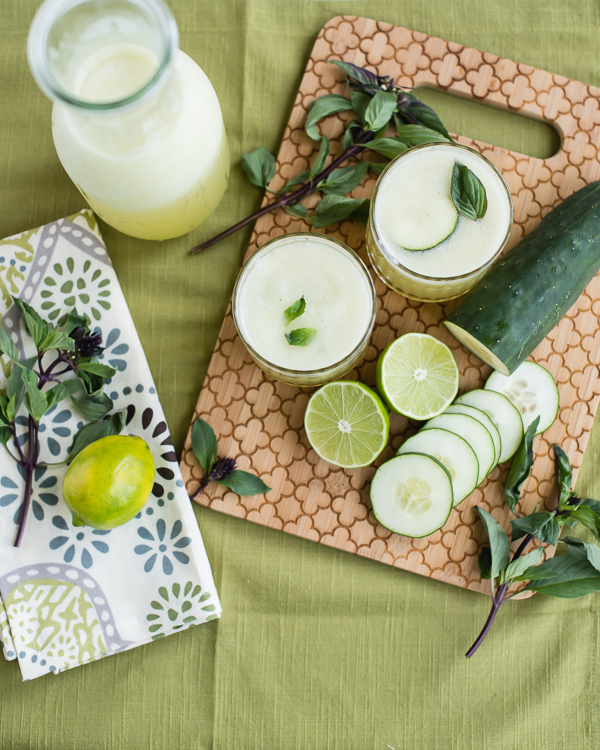 Summery Cucumber Lime Slush with Thai Basil