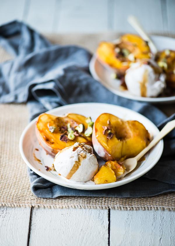Grilled Peaches with Vegan Ice Cream-5