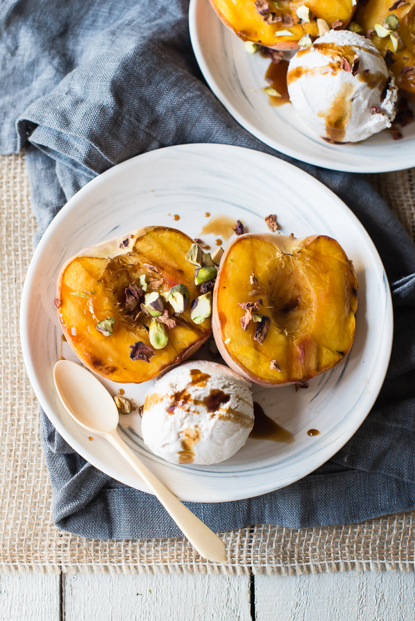 Grilled Peaches with Date Sweetened Vegan Ice Cream