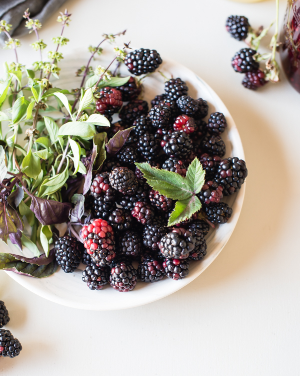 blackberries and basil