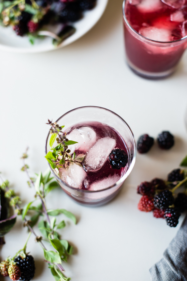 blackberry basil kombucha shrub-5