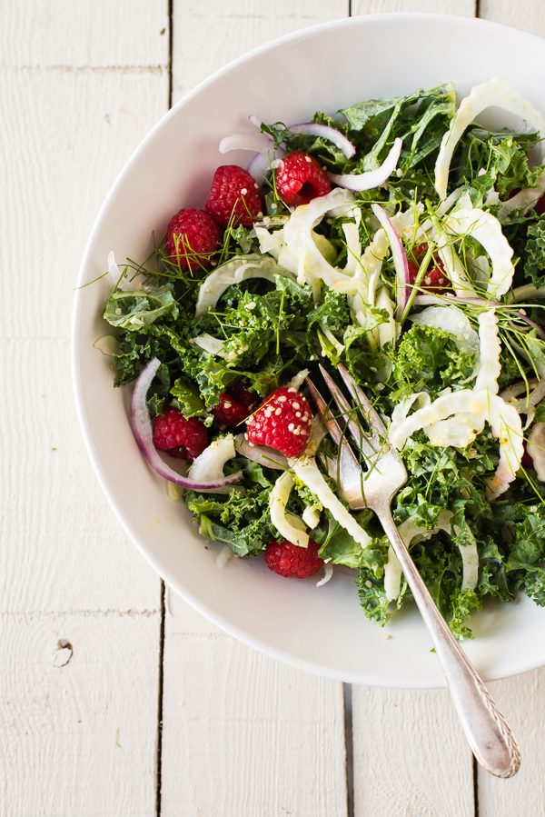 shredded kale berry salad