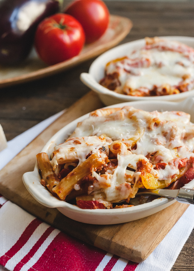 Baked Ziti with Roasted Eggplant and Peppers | www.kitchenconfid
