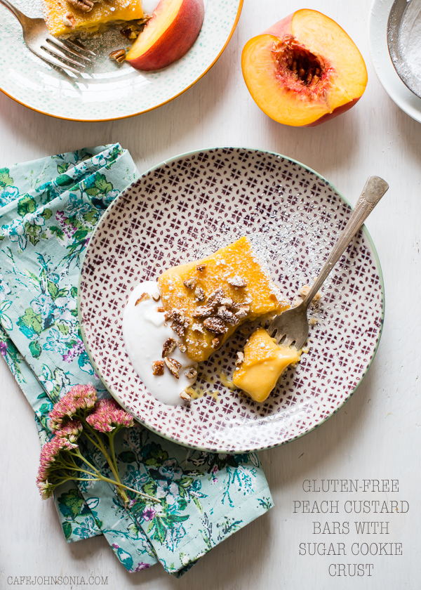 Gluten Free Peach Bars with Sugar Cookie Crust