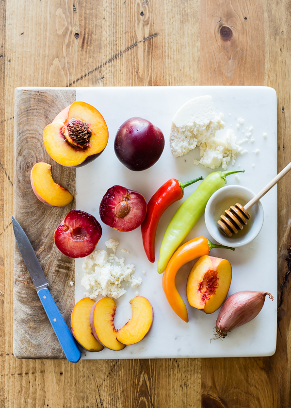 Quinoa Pizza with Stone Fruit, Chiles, and Queso Fresco-6