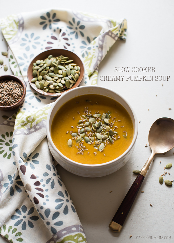 Slow Cooker Creamy Pumpkin Soup | CafeJohnsonia.com #pumpkin #soup #vegan #slowcooker #crockpot