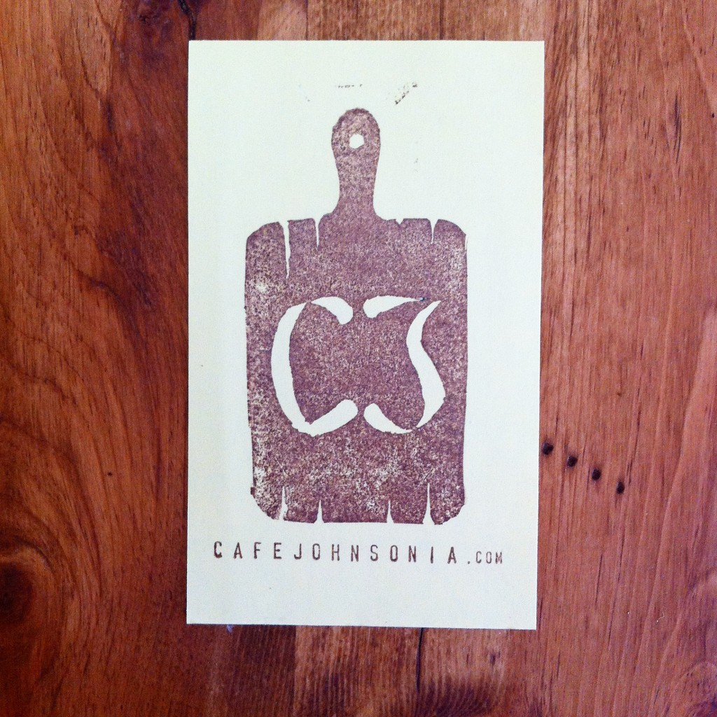 cafe johnsonia cutting board stamp