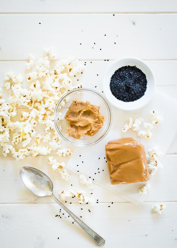 Miso Black Sesame Caramel Popcorn Balls Ingredients