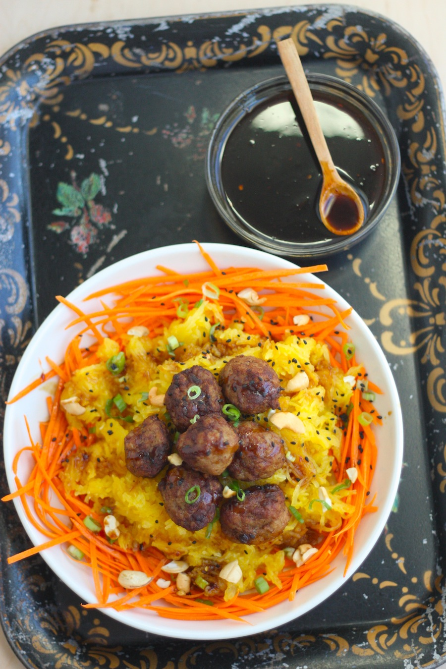 Teriyaki Spaghetti Squash with Carrot Noodles and Meatballs