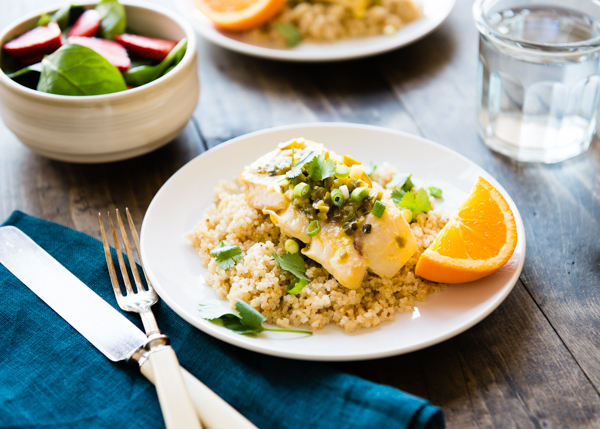 Orange Mango Braised Fish with Lime Coconut Quinoa-2