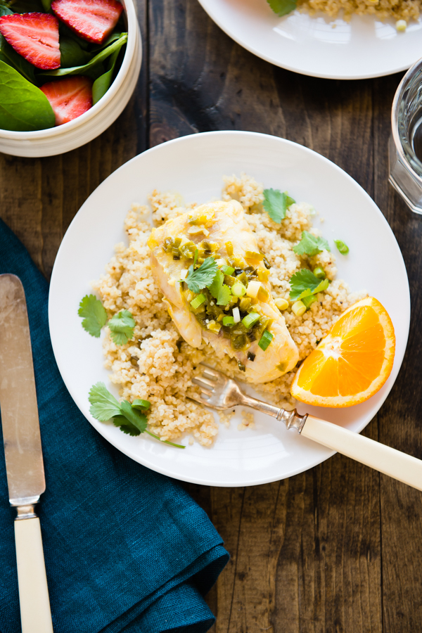 Orange Mango Braised Fish with Lime Coconut Quinoa-7