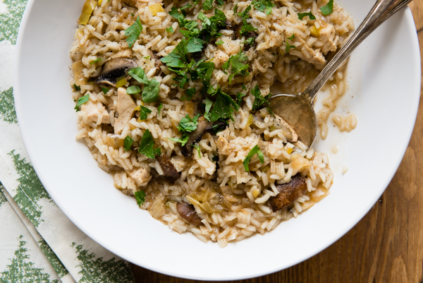 Mushroom and Leek Chicken Rice Stew