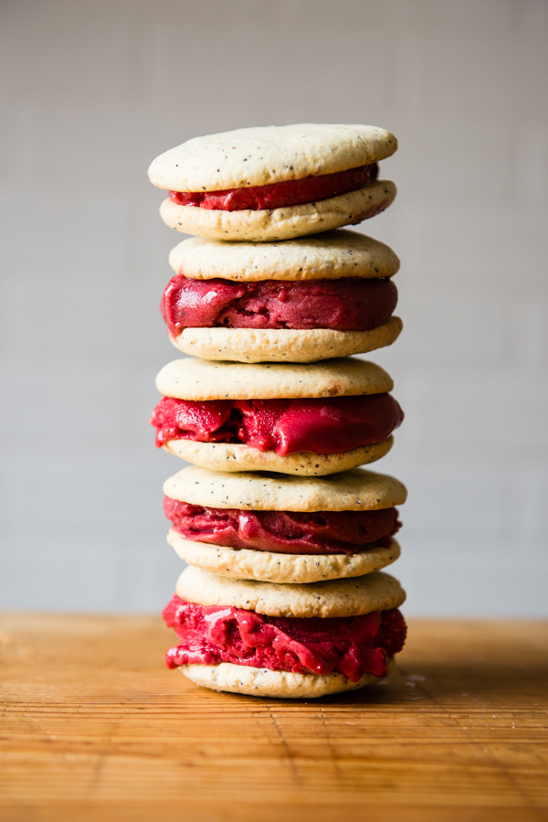 Gluten-Free Lemon Poppy Seed and Berry Sorbet Ice Cream Sandwiches-6