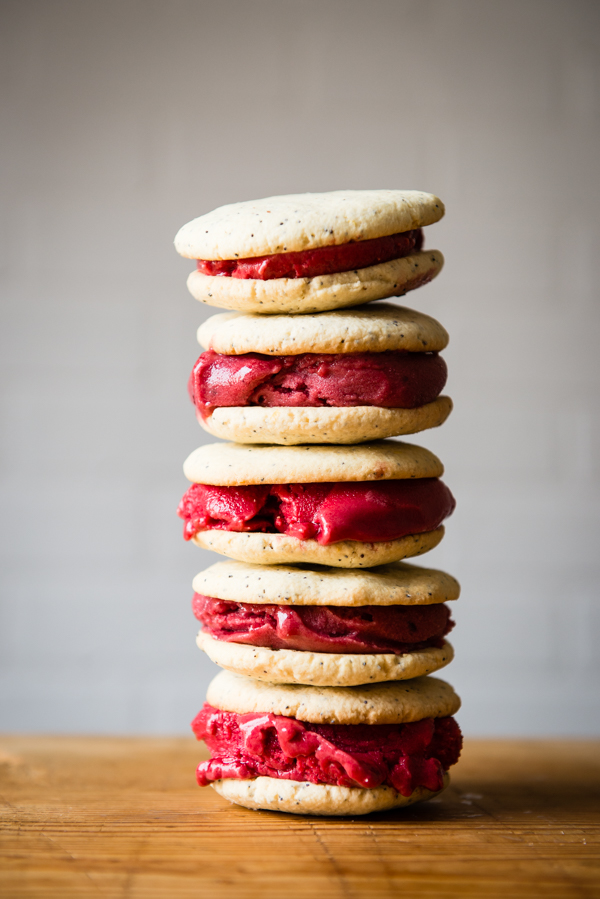 Gluten-Free Lemon Poppy Seed and Berry Sorbet Ice Cream Sandwiches-7