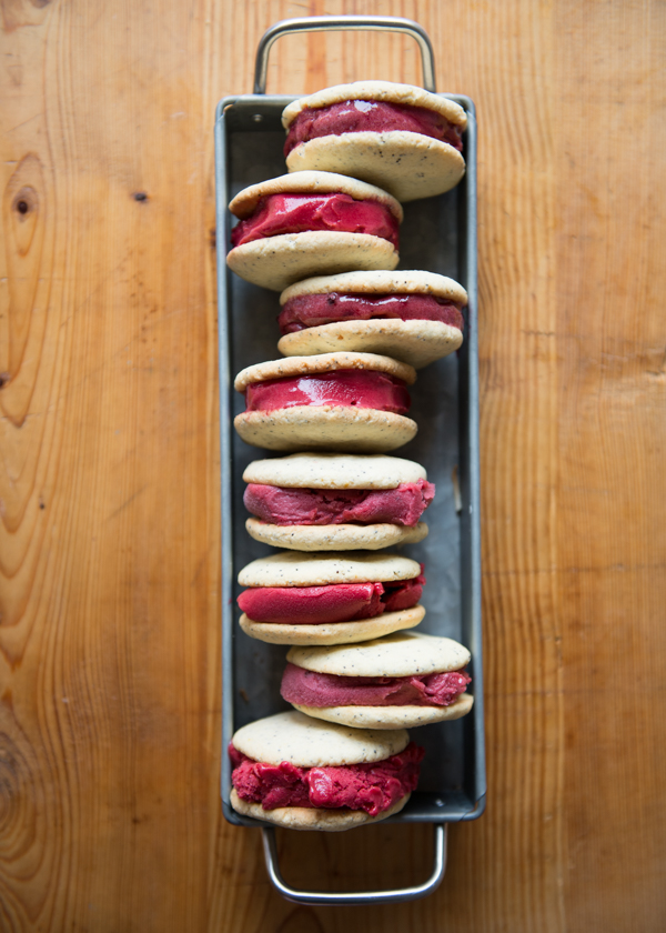 Gluten-Free Lemon Poppy Seed and Berry Sorbet Ice Cream Sandwiches