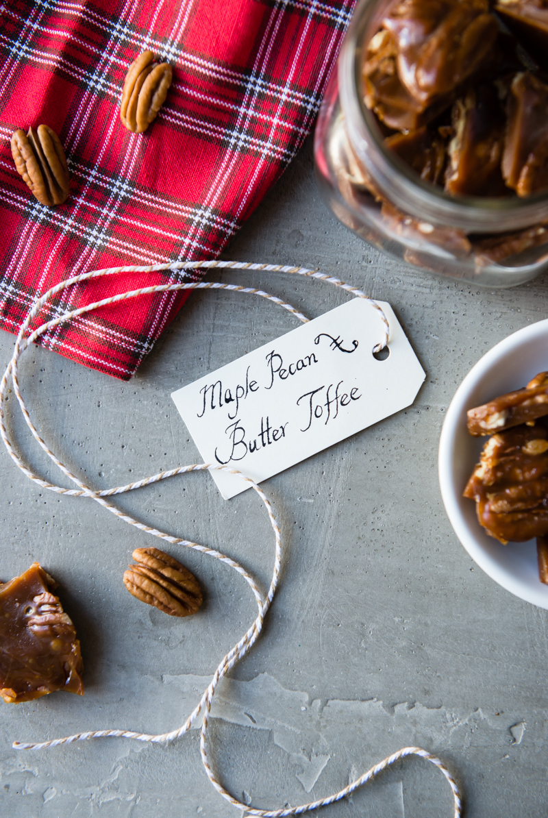 Maple Pecan Butter Toffee Recipe | CafeJohnsonia.com #toffee #recipe #candy