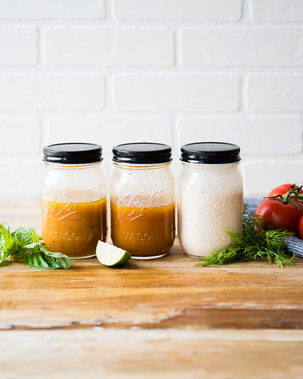 Three tomato dressings and vinaigrettes