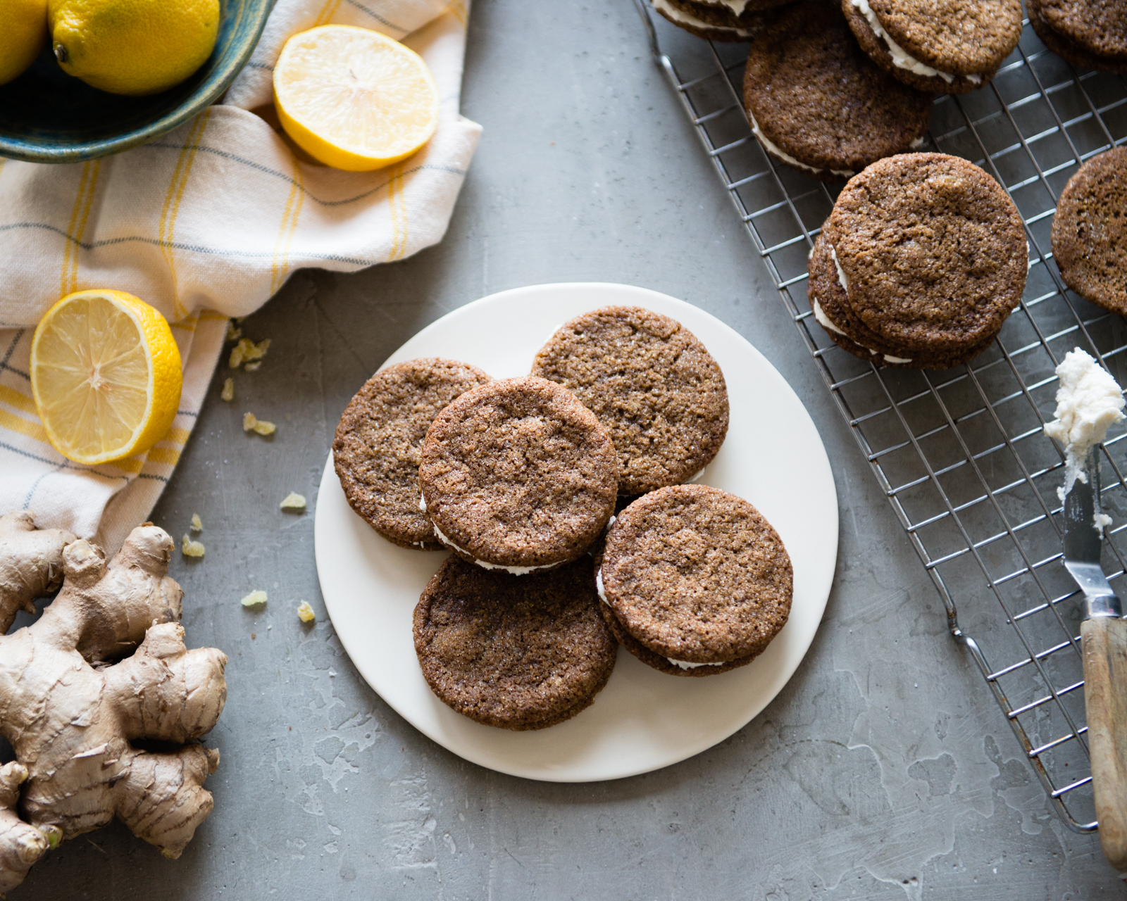 Ginger Lemon Creme Cookies-3