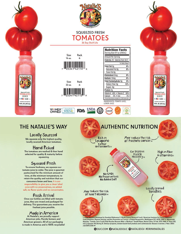 Natalie's Tomato Juice Info