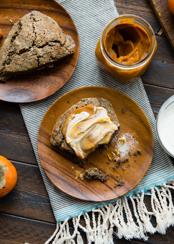 Roasted Persimmon Butter with Buckwheat Teff Scones and Vanilla Creme Fraiche