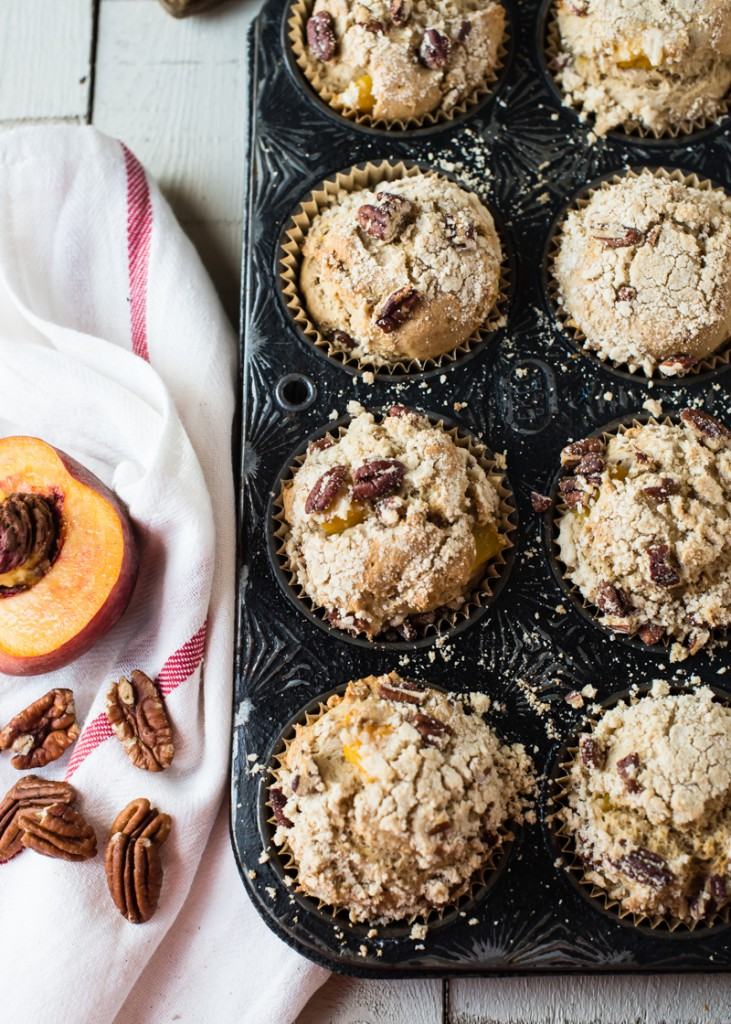 Gluten-Free Peach Muffins with Pecan Streusel Topping | CafeJohnsonia.com #glutenfree