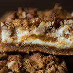Gluten-Free Pumpkin Cheesecake Bars with Dulce de Leche Swirl
