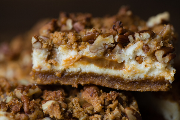 Gluten-Free Pumpkin Cheesecake Bars with Dulce de Leche Swirl