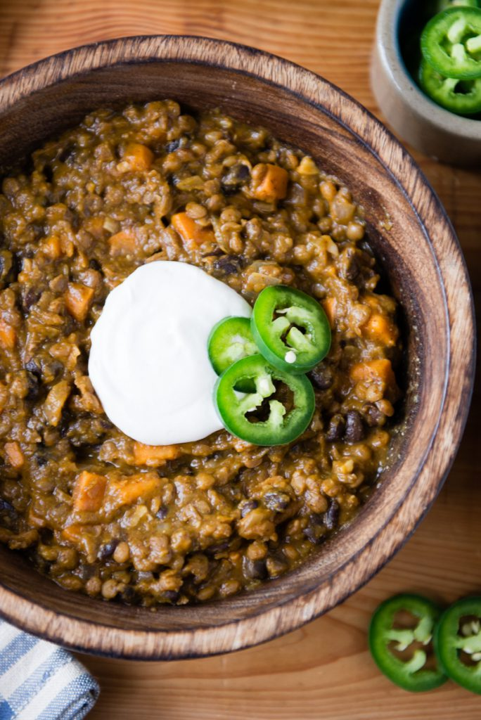 Vegan Pumpkin Black Bean and Lentil Chili
