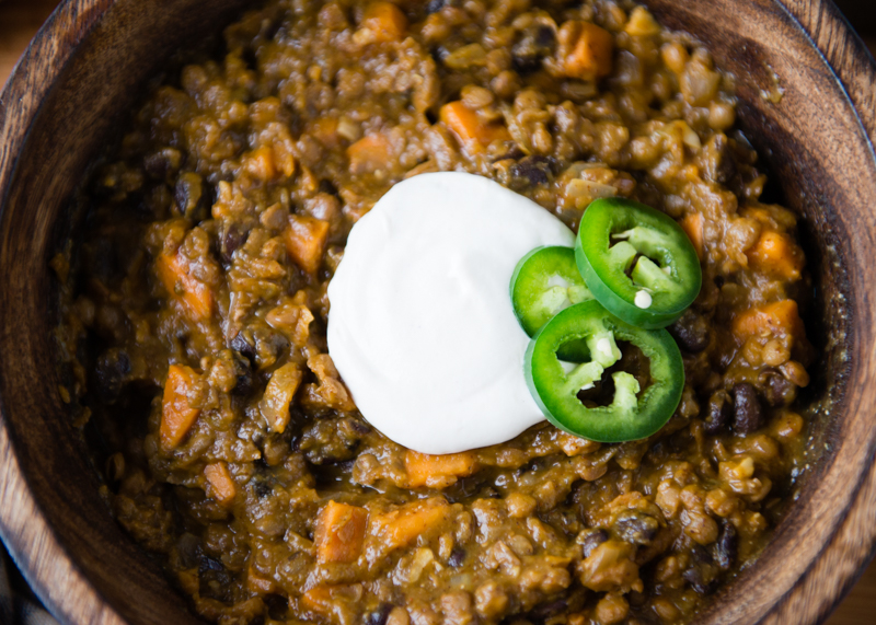 Lentil Chili with cashew sour cream
