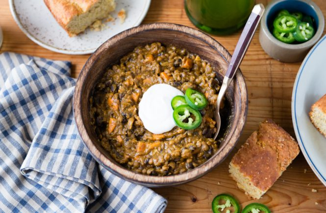 Pumpkin Red Lentil Chili with Black Beans and Sweet Potatoes