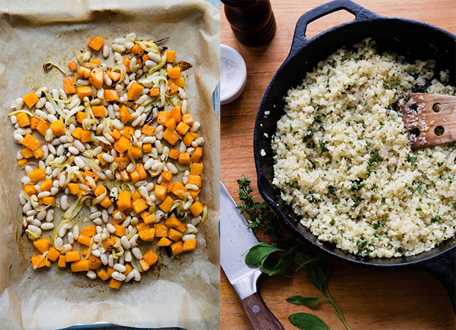 Roasted Butternut Squash and Cauliflower Rice