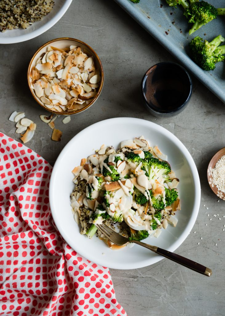 Coconut Quinoa Bowl with Roasted Broccoli and Miso Tahini Sauce