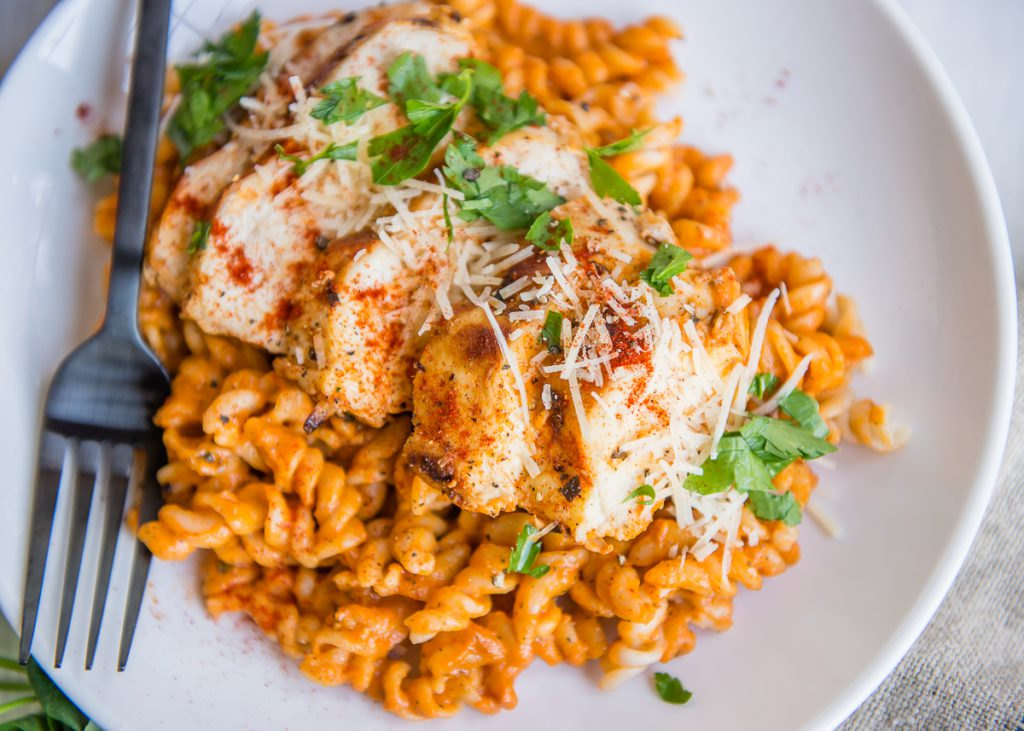 Gluten Free Grilled Chicken Pasta With Red Pepper Sauce