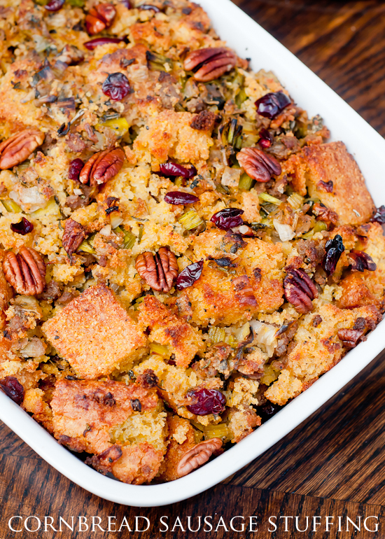 Gluten-Free Cornbread Sausage Stuffing with Leeks, Pecans, and Dried ...