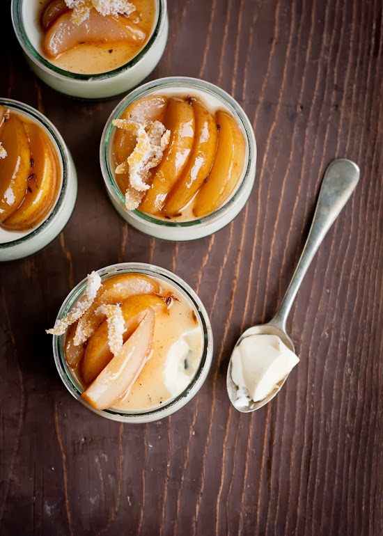 Lavender Panna Cotta with Honey Poached Pears | Cafe Johnsonia