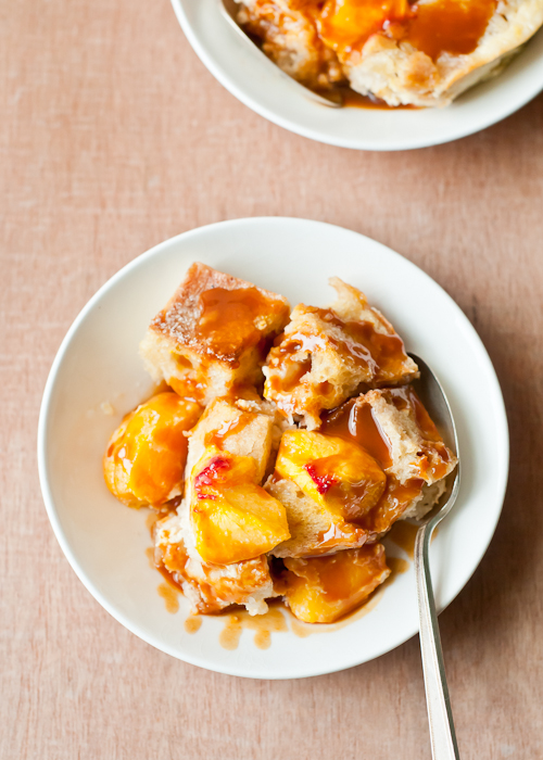 Peach Buttermilk Bread Pudding with Caramel Sauce | Cafe Johnsonia